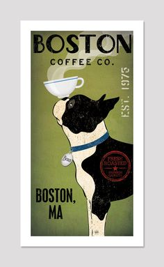 BOSTON TERRIER Free Customization Personalization Coffee Co. ILLUSTRATION Giclee Print 8x16  inches signed (two of my favorate things! coffee and boston terriers!)