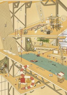 Risk Theme Park is a conceptual high-rise featuring floods, fires and climbing hazards.