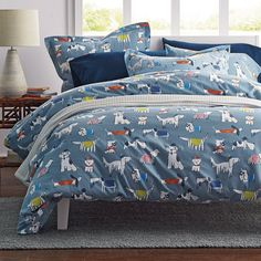 Doggone It Flannel Duvet Cover / Sham - Dressed to impress, the pampered pups on this fetching flannel duvet cover are decked out in sweaters, fedoras, bowties and jaunty berets.