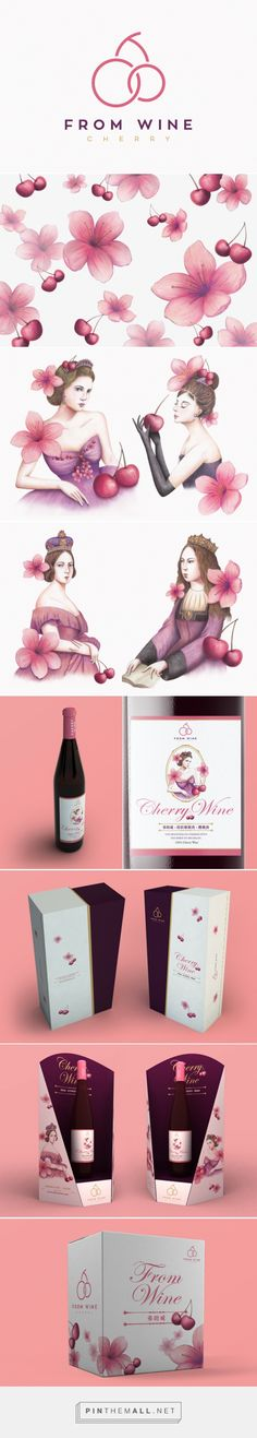 From Wine packaging branding design on Behance via box brand design curated by Packaging Diva PD. Cherry wine is the flagship product of From Wine. It attracts young female market with its lovely pink, and sweet fruity taste.