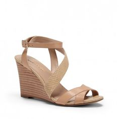Women's Warm Sand 3 1/4 Inch Strappy Wedge Sandal | Viktoria by Sole Society