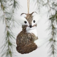One of my favorite discoveries at WorldMarket.com: Natural Fiber Fuzzy Fox Ornaments Set of 2