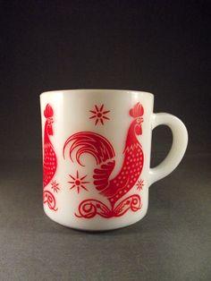 Cute Vintage Milk Glass Mug - Red Rooster Pattern