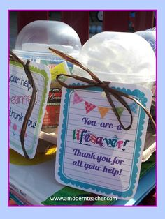 Bag of Lifesavers from Cosco, small, dollar store buckets and a tag like this...fun, cute idea for volunteers!