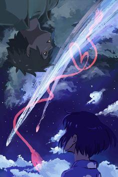 Kimi no Na wa. Kimi No Na Wa, Film Anime, Anime Manga, Anime Art, Bakemono No Ko, Gurren Laggan, The Garden Of Words, Your Name Anime, Hokusai