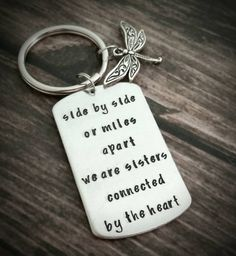 Personalized Hand Stamped Sisters key chain with dragonfly charm - customization available