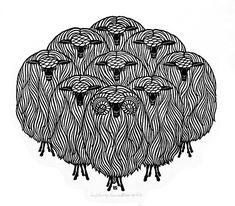 Jacques Hnizdovsky - Alchetron, The Free Social Encyclopedia Sheep Illustration, Sheep Art, Linoprint, Doodles Zentangles, Wood Engraving, Doodle Art, Printmaking, Paper Art, Art For Kids