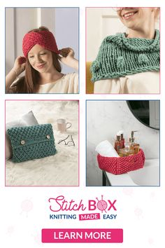 With Stitch Box, knitting has never been this easy! Each month, you'll get: - Maxi-balls of yarn and accessories to knit a fashion or decorative item - 4 balls of yarn to knit a stunning throw square by square - An exclusive 56-pages book, with easy instructions Discover Stitch Box now and get your Welcome Box for only £5! Stitch Box, Next Fashion, Decorative Items, Make It Simple, Balls, Crochet Hats, Knitting, Easy, Pattern