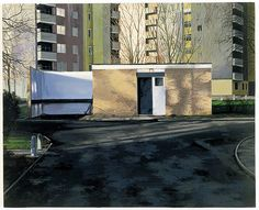 Credit: George Shaw/Courtesy Wilkinson Gallery, London Scenes from The Passion: The Cop Shop, Urban Landscape, Landscape Art, Landscape Paintings, Landscapes, Art Paintings, Council Estate, Sense Of Place, Built Environment, Beauty Art