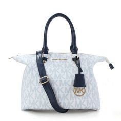 Perfect Michael Kors Riley Pebbled-Leather Medium White Blue Satchels, Perfect You