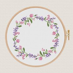 flowers cross stitch pattern Lavender Helleborus floral wreath #Crossstitchflowers