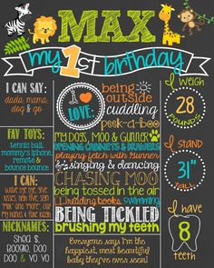 Safari Theme Birthday Chalkboard Poster // Jungle Animals // Safari Birthday // First Birthday by PersonalizedChalk, $37.00