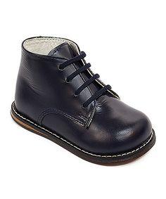Navy Wide-Width Leather Dress Shoe