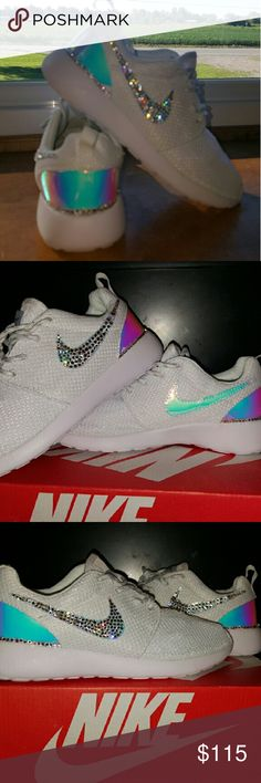 Customized Nike with Swarovski Crystals Customized Nike Roshe w/ Genuine Swarovski Crystals Nike Shoes Sneakers