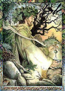 """O deus pai e soberano da Tuatha Dé Danann. Talvez a mais importante de todas as divindades celtas, Dagda (por vezes referido como """"The Dagda ') era adorado pelos Celtas como o deus da magia, da sabedoria, e da fertilidade. Seu nome significa """"o deus bom, ' apesar de """"bom"""" descreve suas virtudes morais, mas sim seus muitos talentos, de combate ao artesanato de magia."""
