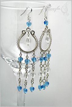 Sterling silver blue hearts earrings, $80