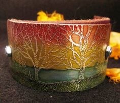 etched metal, cuff, trees, lake, recycled, womens jewelry,bracelet, leather cuff, woods