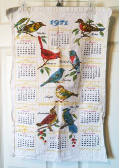 1971 Cloth Bird Calendar - My grandma always had these cloth calendars Vintage Calendar, Do You Remember, My Memory, The Good Old Days, Tea Towels, Finland, Childhood Memories, Linens, 1970s