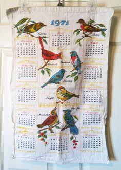 1971 Cloth Bird Calendar - My grandma always had these cloth calendars