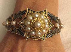 Antique Victorian Georgian Heavy 14k Gold Enamel Seed Pearl Watch Bracelet 46G #Geneva #ArtNouveauArtDeco