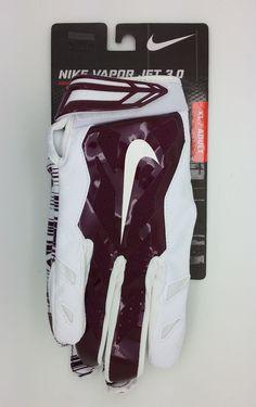 NIKE VAPOR JET 3.0 LOCK UP LOGO MAROON/WHITE GLOVES PAIR (XL) -- NEW #Nike