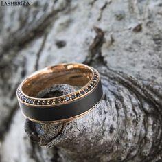 Lashbrook designs. Mens wedding bands. Unique wedding bands. Rose gold rings