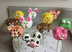 Chocolate dipped marshmallow animals pops