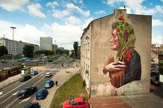 """W Łodzi  powstał niesamowity mural Grupy Etam inspirowany wierszem Juliana Tuwima """"W aeroplanie""""! Robi wrażenie!  [fot. www.facebook.com/urbanforms]"""