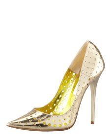 Jimmy Choo Mime Perforated Mirrored Leather Pump