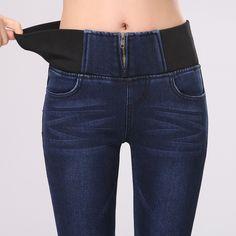 Dos colores Vaqueros Delgados Mujer 2015 Denim Elástico de Cintura Alta Pantalones Vaqueros de Las Mujeres Pantalones Elásticos Tamaño 26-32