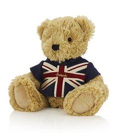 Snuggle up with a cute little patriotic Harrods bear!