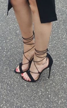 Tie Up Open Toe Heels by Chinese Laundry. Perfect little black heels for those special occasions.