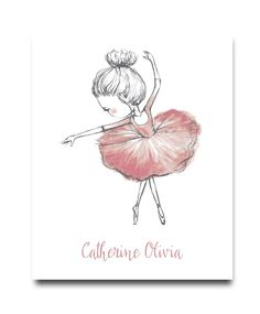 Playful watercolor art serves as a gorgeous centerpiece in this art print, sitting just above a personalized name line for an extra-special touch. Shipping note: This item will be personalized just for you. Nursery Decor Boy, Kids Wall Decor, Nursery Art, Kids Prints, Baby Prints, Nursery Prints, Ballerina Illustration, Ballerina Painting, Boy Wall Art