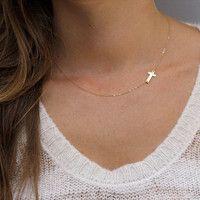 Side ways cross necklace <3