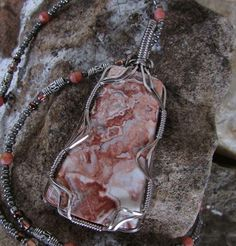 Jill with Jill's Jewels created this beautiful Crazy Lace Pendant with matching chain.