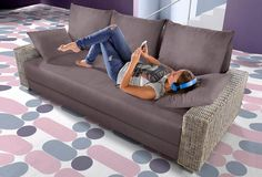 INOSIGN Schlafsofa mit Rattan Armteilen ab 449,99€. Inklusive Bettfunktion, Inklusive Bettkasten, Inklusive komfortablen Federkerns bei OTTO