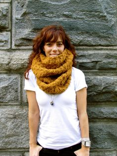 Crochet Cowl mustard rust