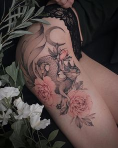 Twin Tattoos, Girl Arm Tattoos, Cute Tattoos, Leg Tattoos, Beautiful Tattoos, Body Art Tattoos, Small Tattoos, Tatoos, Feminine Thigh Tattoos