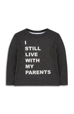 Primark - Grijs shirt met lange mouwen en tekst