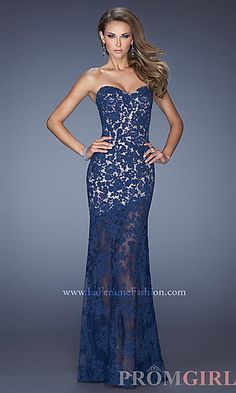 Floor Length Lace Strapless Dress at PromGirl.com  So pretty... if only my pinterest closet was real l ok