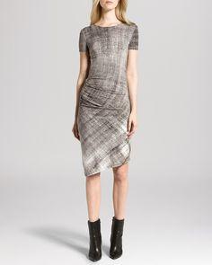 HALSTON HERITAGE Dress - Short Sleeve Gathered Side Jersey   Bloomingdale's