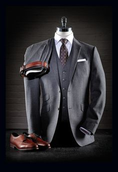 Coppley 3-Piece Worsted Wool Suit: $1198 Eton White Shirt: $235 Dion Silk Tie: $115 Dion Silk Pocket Square: $35 Allen Edmonds Cognac Split Toe Shoes Benchcraft Belt: $98