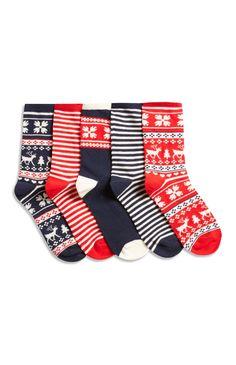 Primark - Socken mit Fairisle-Muster, 5er-Pack