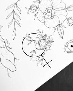 Arte criada pelo artista Felipe Ramos (wtfmanson) de São Paulo.    Símbolo feminino com flores. Time Tattoos, Body Art Tattoos, Small Tattoos, Tatoos, P Tattoo, Piercing Tattoo, Piercings, Art It, Venus Tattoo