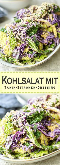 Kohlsalat mit Tahin-Zitronen-Dressing Healthy Coleslaw (Coleslaw) Recipe with Tahin & Lemon Dressing. Quick made side dish that is gluten free and vegan. Healthy Coleslaw, Creamy Coleslaw, Jackfruit Burger, Lemon Dressing Recipes, Raw Food Recipes, Healthy Recipes, Cabbage Salad, Salad Bar, Recipes From Heaven