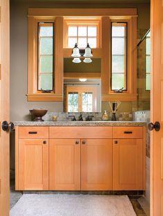 Craftsman bathroom - wood tones