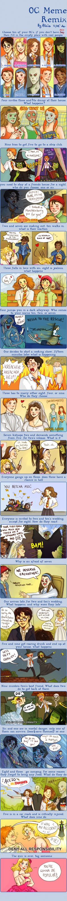 Harry Potter + Wicked Meme by ~alicia-chan on deviantART I love the first one of Ginny, Hermione and Voldemort having a girls night in...