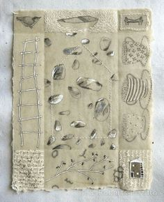Patti Roberts-Pizzuto. Notes from the Ancestors no. 6. 2012. Pencil, ink, collage, water soluble crayons, rubber stamping, beeswax, hand stitching on handmade paper.
