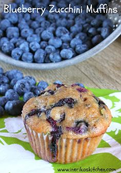 In Erika's Kitchen: Blueberry zucchini muffins. Think I'd sub at least h… In Erika's Kitchen: Blueberry zucchini muffins. Think I'd sub at least half the oil for applesauce and some of the flour for whole-wheat, but otherwise these sound great. Blueberry Zucchini Muffins, Blueberry Recipes, Healthy Muffins, Blue Berry Muffins, Healthy Snacks, Veggie Muffins, Chocolate Zucchini Muffins, Mini Muffins, Recipes