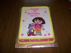 Dora and Boots - Dora and Boots are FBCT. Everything else is buttercream. Idea came from Rexy's cake. Thanks!